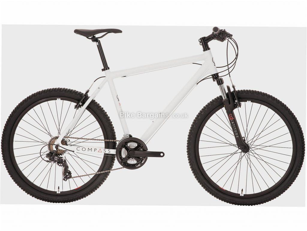 "Compass Latitude Alloy Hardtail Mountain Bike M, White, Alloy, 26"", 7 Speed, Caliper Brakes, Triple Chainring"