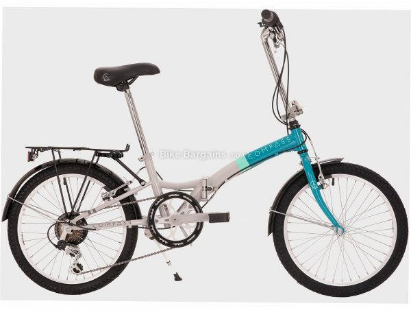 """Compass Northern Steel Folding Bike One Size, Grey, Turquoise, Steel, 20"""", 6 Speed, Hardtail, Caliper Brakes, Single Chainring, 16kg"""