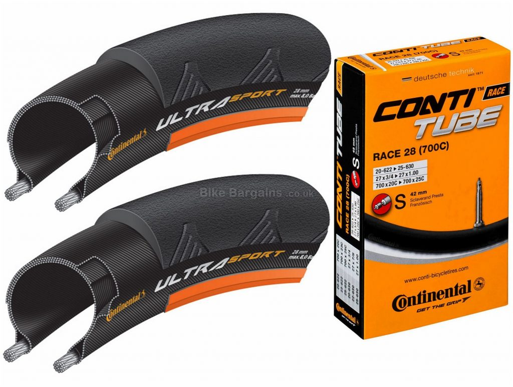 Continental Ultra Sport II Wire Tyres and Tubes 700c, 25c, Black, Pair, includes 2 tubes, Steel, 700c, 310g