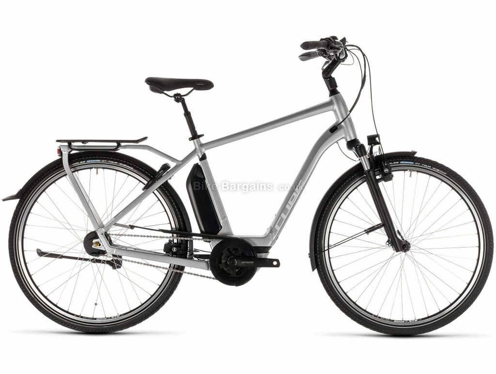 Cube Town Hybrid SL 500 Alloy E-Bike 2019 62cm, Silver, White, Alloy, 700c, 25.7kg, Caliper Brakes, 8 Speed, Single Chainring