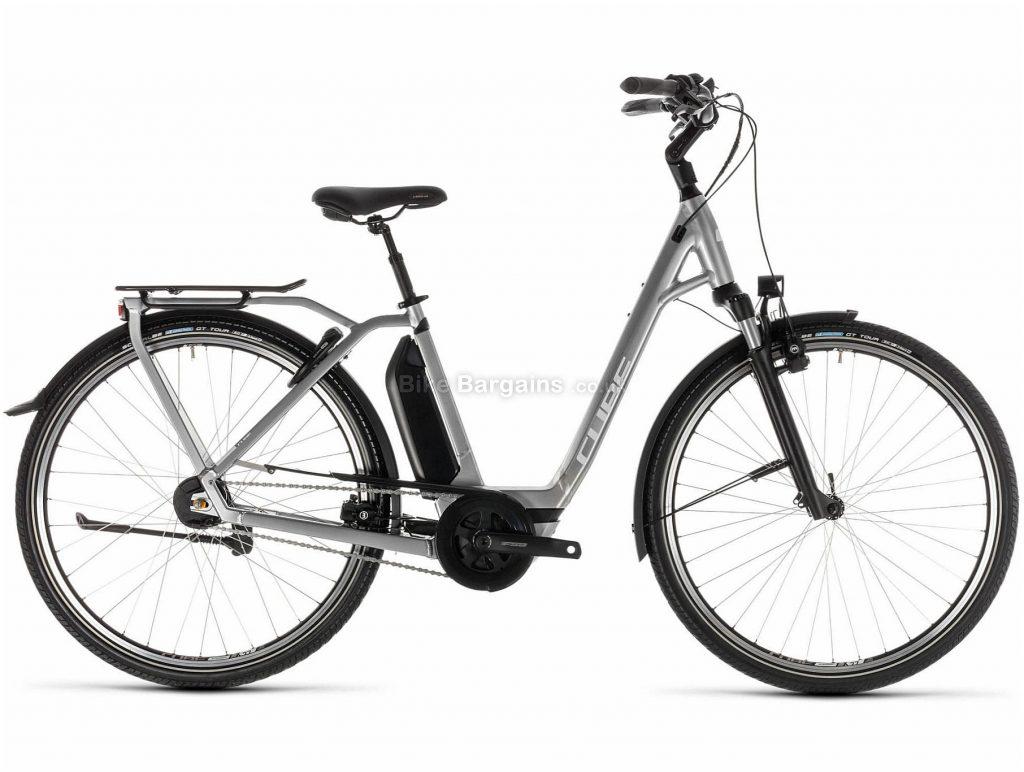 Cube Town Hybrid SL 500 EE Ladies Alloy E-Bike 2019 42cm, Silver, White, Alloy, 700c, 25.7kg, Caliper Brakes, 8 Speed, Single Chainring