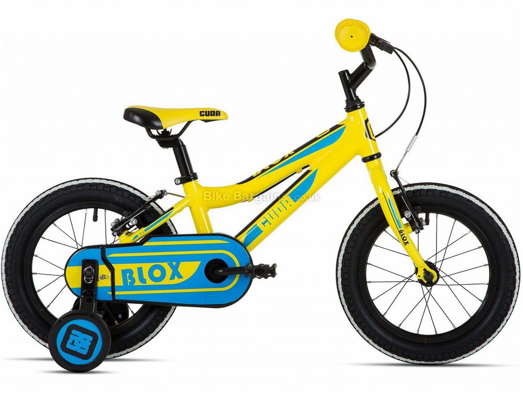"""Cuda Blox 14"""" Alloy Kids Pavement Bike One Size, Yellow, Blue, with stabilisers, Alloy, 14"""", Single Speed, Hardtail, Caliper Brakes, Single Chainring, 8.2kg"""