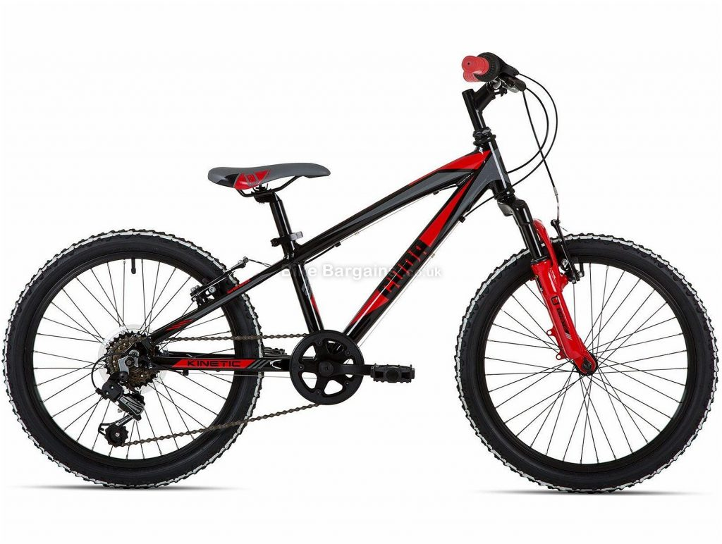 "Cuda Kinetic 20"" Kids Alloy Mountain Bike One Size, Black, Red, Alloy, 11.9kg, 6 Speed, Single Chainring, Caliper brakes, 20"""