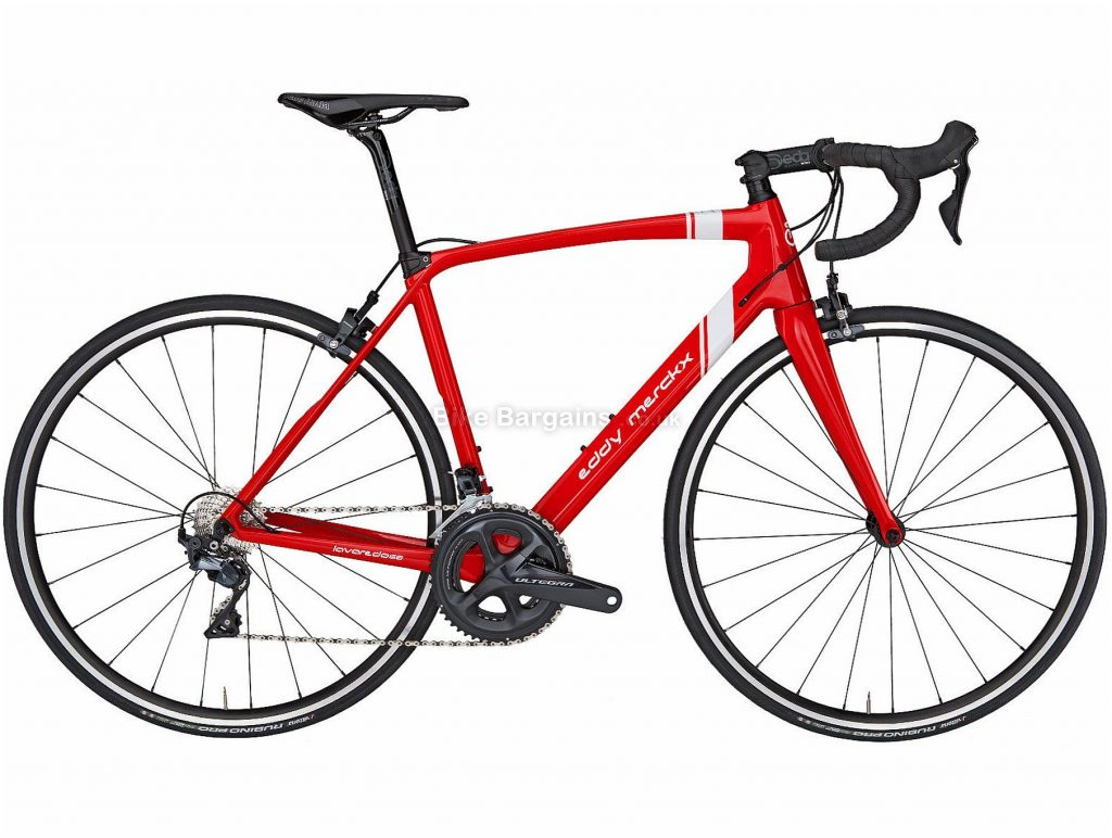 Eddy Merckx Lavaredo 68 Ultegra Mix Carbon Road Bike 2019 S, Red, White, Carbon, Double Chainring, Caliper Brakes, 11 Speed, 700c