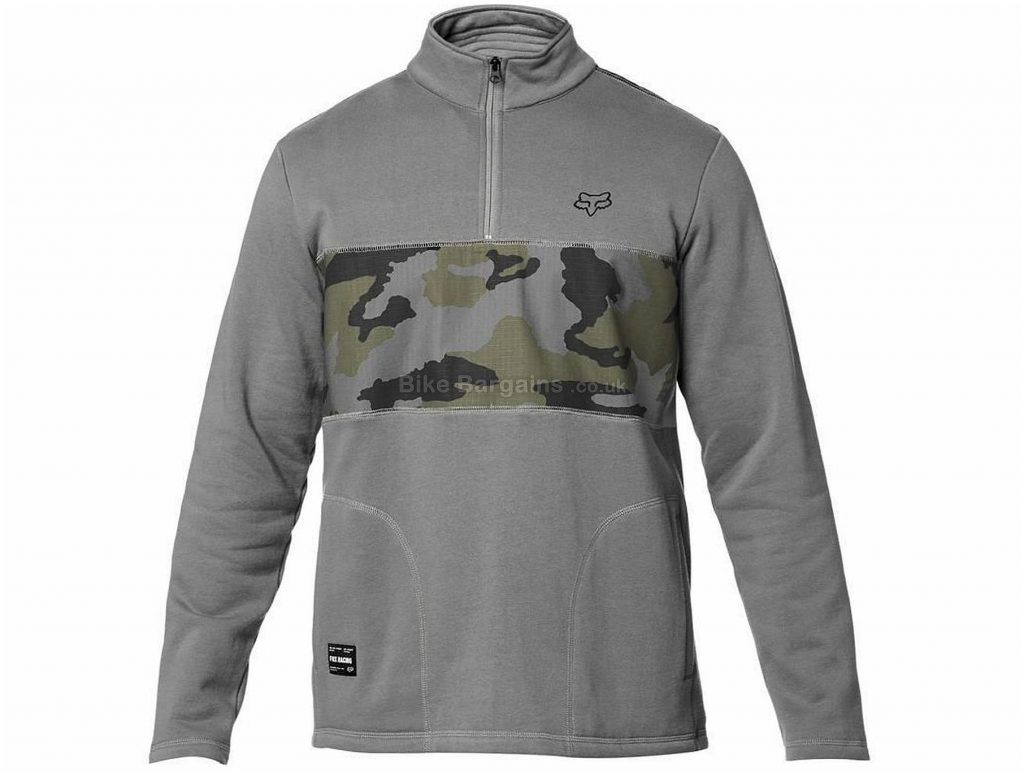 Fox Clothing Heathen Zip Fleece Casual Hoodie XL, Grey, Long Sleeve, 220g, Cotton, Polyester