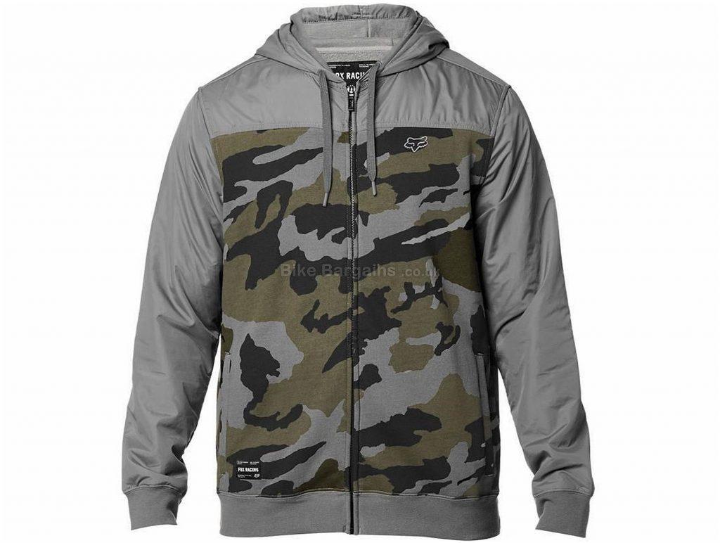 Fox Clothing Pivot Zip Casual Fleece Hoodie XXL, Grey, Long Sleeve, 330g, Cotton, Polyester