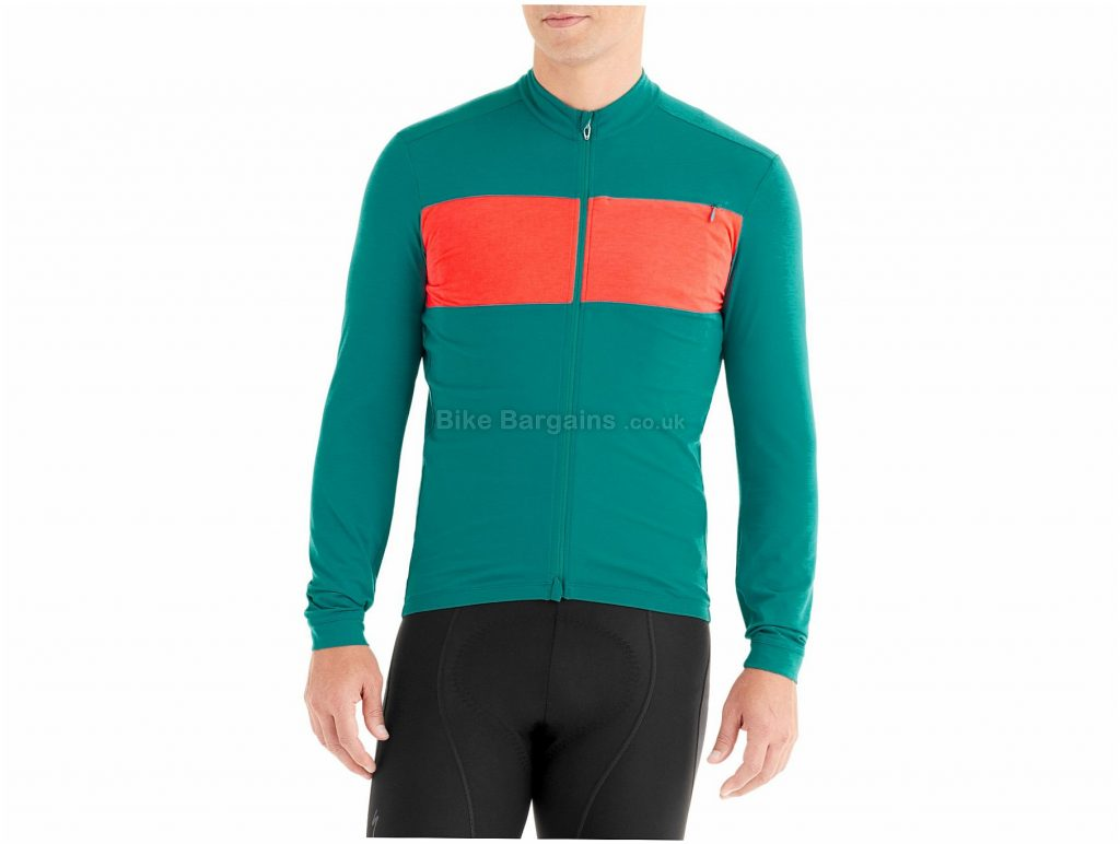 Specialized Rbx Dri-release Merino Long Sleeve Jersey M, Turquoise, Red, Men's, Long Sleeve, Merino