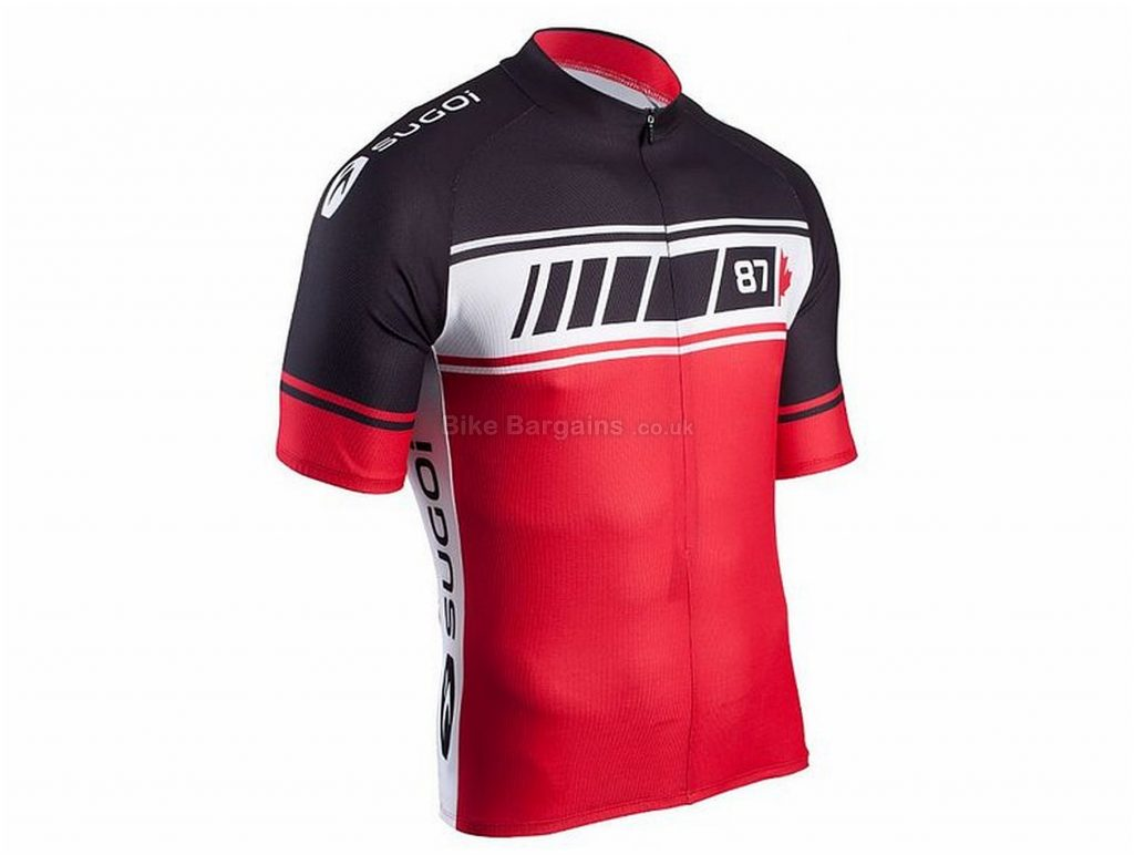 Sugoi Evo Team Jersey M,L, Black, White, Red, Short Sleeve, Polyester