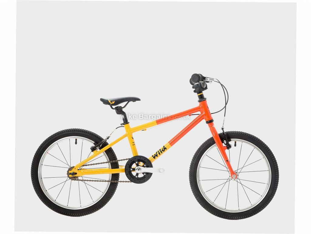 "Wild Bikes Wild 18 Alloy Kids Bike One Size, Orange, Yellow, Alloy, 18"", Single Speed, Hardtail, Caliper Brakes, Single Chainring, 6.7kg"