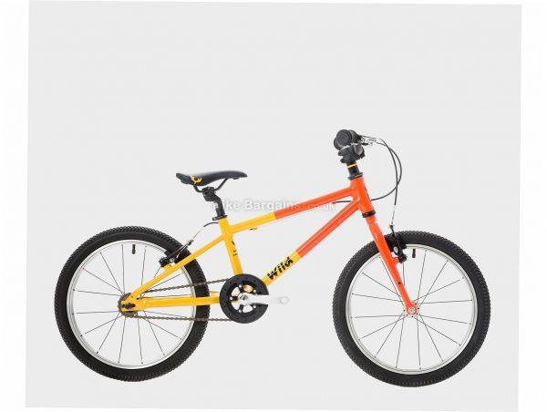 "Wild Bikes Wild 18 Alloy Kids Bike One Size, Orange, Yellow, Alloy, 18"", Single Speed, Hardtail, Caliper Brakes, Single Chainring, 6.7kg"