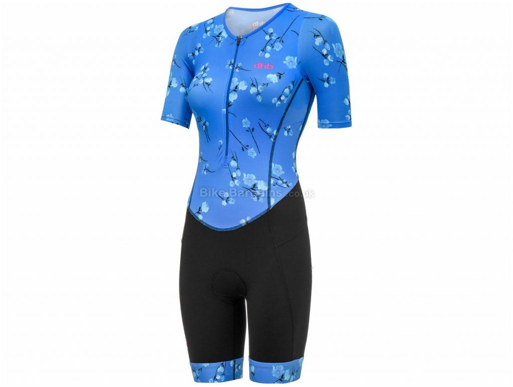 dhb Blok Ladies Sakura Short Sleeve Tri Suit 10,12,14, Black, Blue