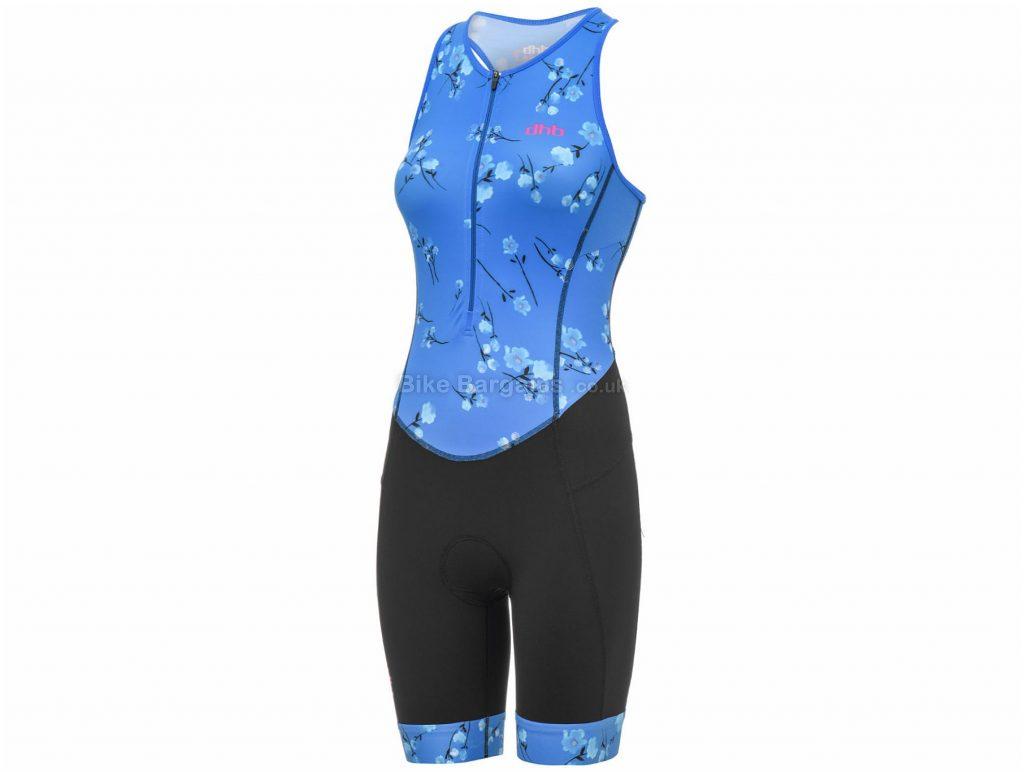 dhb Blok Sakura Ladies Sleeveless Tri Suit 10,12, Black, Blue, Ladies, Sleeveless, Polyamide, Elastane