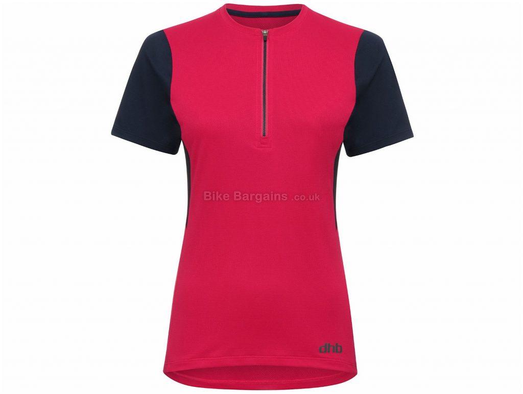 dhb Ladies 1/2 Zip Trail Short Sleeve Jersey 8, Red, Black, Ladies, Short Sleeve, Polyester, Elastane