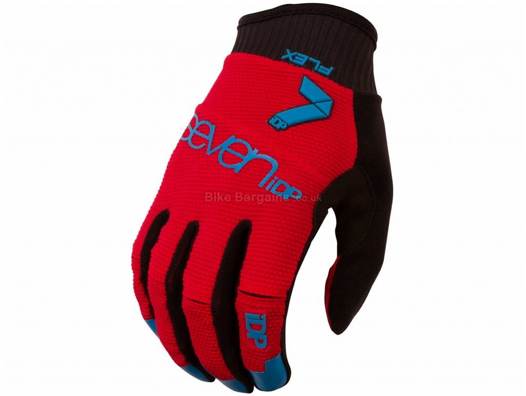 7 iDP Flex Gloves XXL, Black, Blue, Silicone Grips, Full Finger, Men's, Polyamide, Polyester, Polyurethane, Elastane
