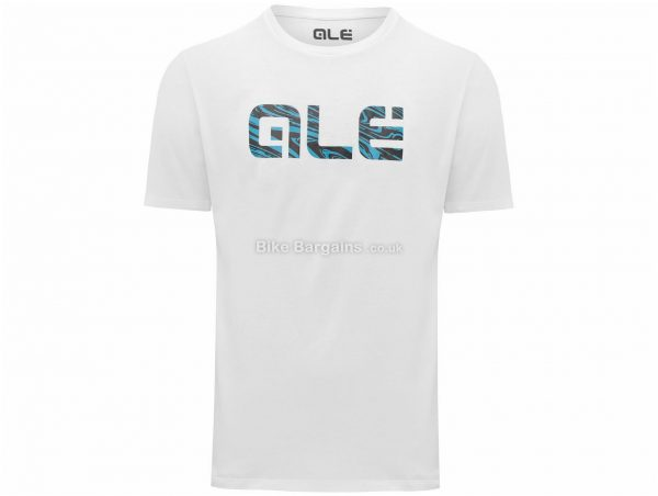 Ale Blue Swirl Logo T-Shirt L, Black, White is extra, Casual Fit, Short Sleeve, Cotton