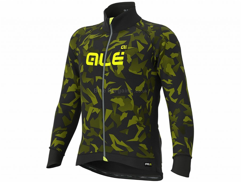 Ale Glass Jacket XS, Black, Yellow, Racing Fit, Breathable, Windproof, Long Sleeve, 400g, Polyester, Elastane
