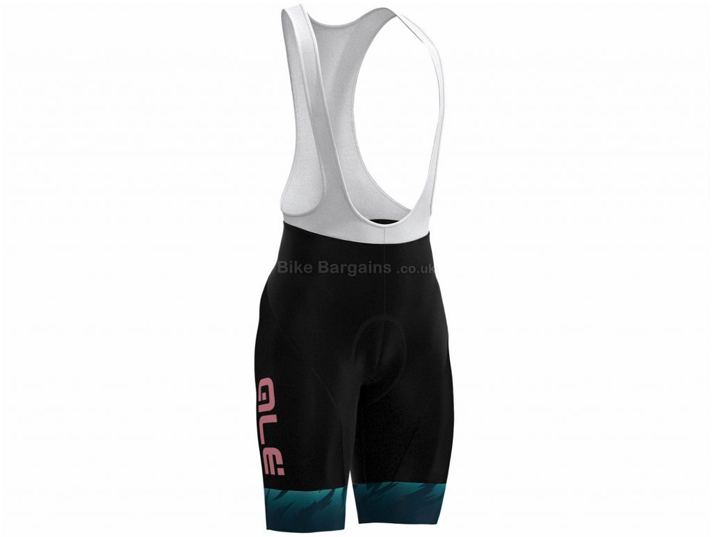 Ale Ladies Jazzy Zebra Bib Shorts XL, Black, Green, Pink, Reflective Tabs, Ladies, Polyamide, Elastane