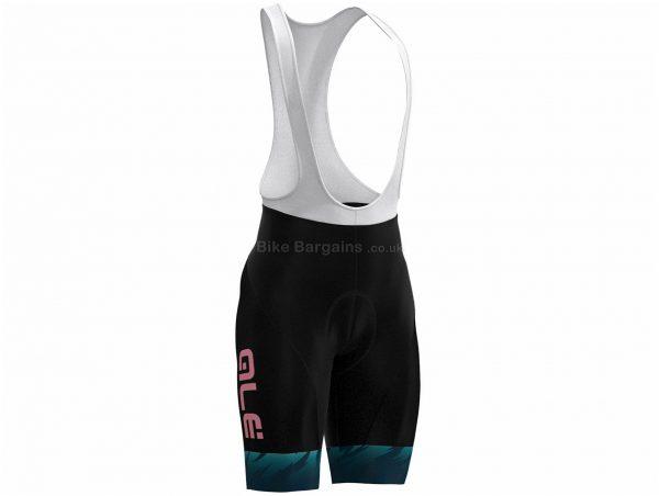 Ale Ladies Jazzy Zebra Bib Shorts XL, Black, Green, Pink, Reflective Tabs, Ladies, Polyamide, Elastane