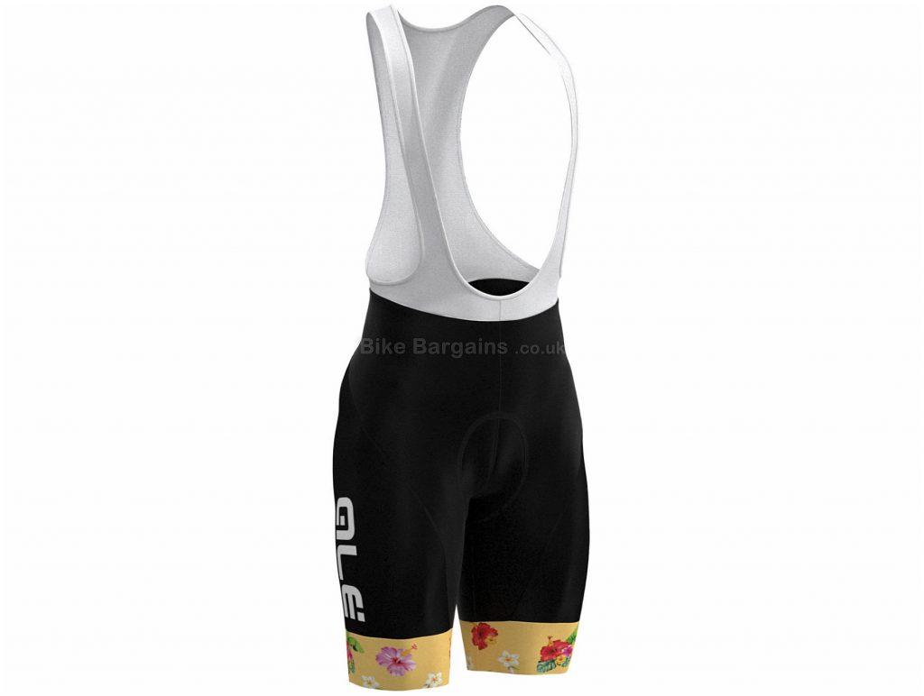 Ale Ladies Tropical Toucan Bib Shorts XS, Black, Yellow, Reflective Tabs, Ladies, Polyamide, Elastane
