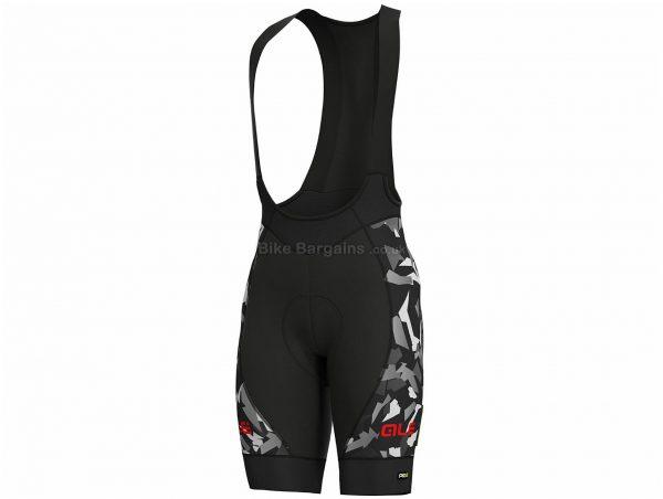 Ale PRR Glass Bib Shorts XS, Black, Grey, Race Fit, Men's, Polyester, Elastane