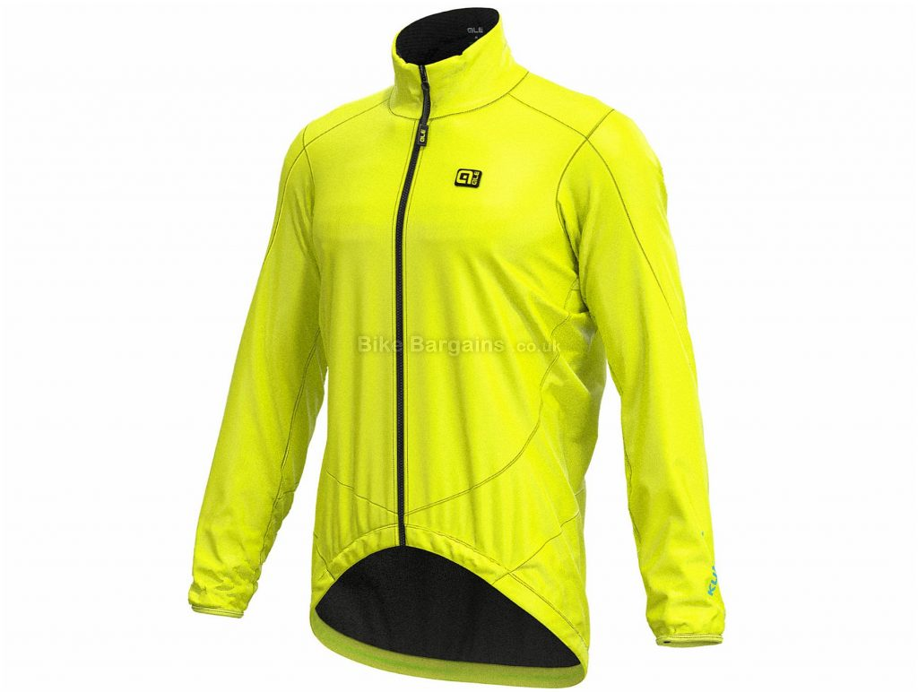 Ale Pack Jacket S, White, Yellow, Windproof, Water Repellent, Long Sleeve, Polyester, Elastane