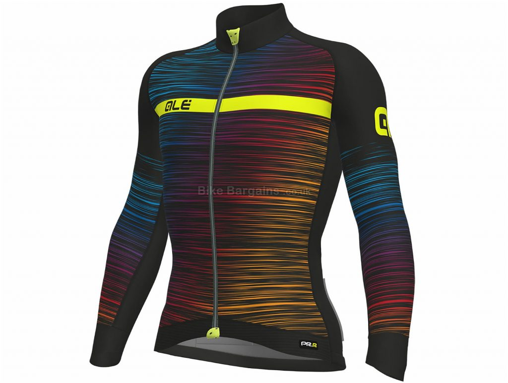 Ale The End Long Sleeve Jersey XS, Red, Yellow, Reflective Zippered Pocket, Long Sleeve, Polyester, Elastane, Polyamide
