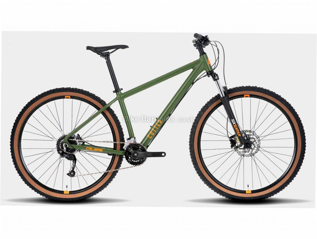 "Calibre Cutter Alloy Hardtail Mountain Bike L, Green, Alloy Frame, 27.5"", 29"", 18 Speed, Double Chainring, Disc, Hardtail"