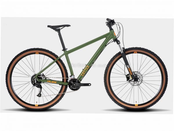 """Calibre Cutter Alloy Hardtail Mountain Bike S, Green, Alloy Frame, 27.5"""", 29"""", 18 Speed, Double Chainring, Disc, Hardtail"""