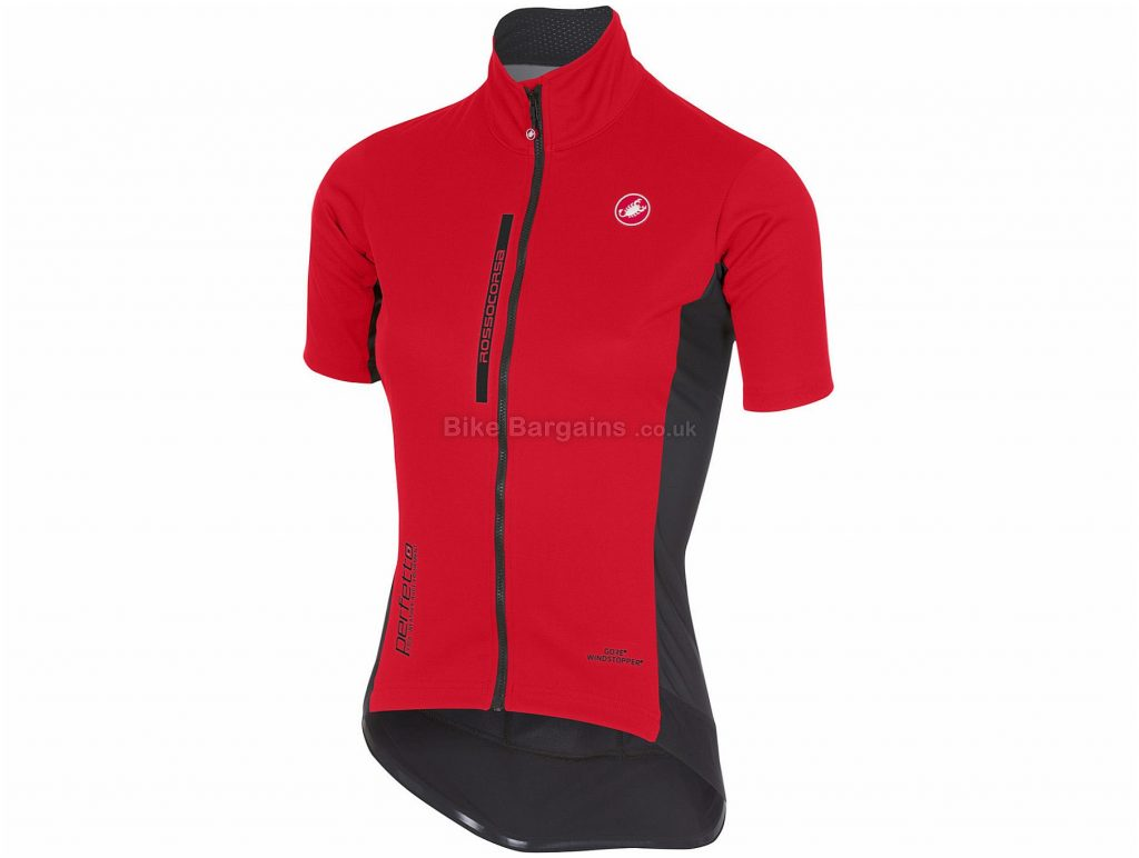 Castelli Ladies Perfetto Light Short Sleeve Jersey L, Pink, Black, Windstopper, Ladies, Short Sleeve, 225g, Polyester,Polyamide, Elastane