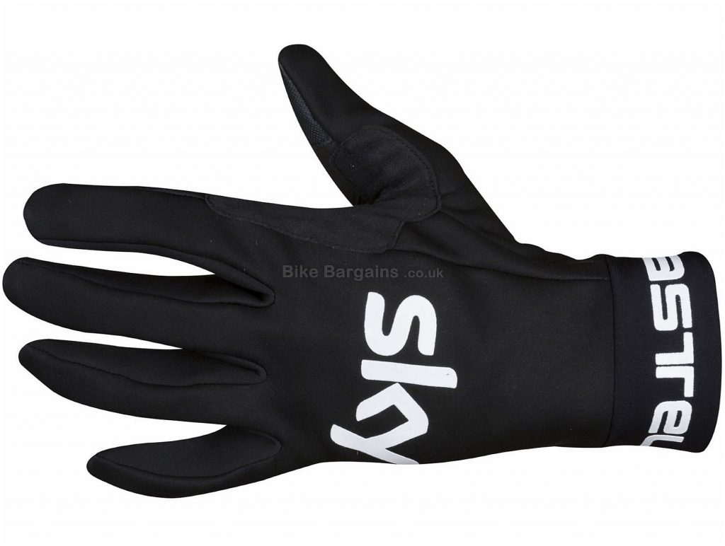 Castelli Team Sky Scalda Gloves XXL, Black, Water & Windproof Fabric, Full Finger, Men's, Polyester, Polyurethane, Elastane