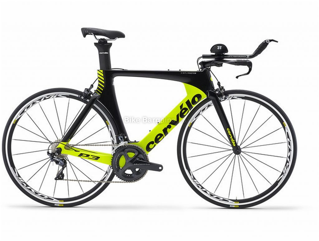 Cervelo P3 Ultegra Carbon Road Bike 2018 58cm, Black, Yellow, Carbon Frame, 700c, 22 Speed, Double Chainring, Caliper Brakes