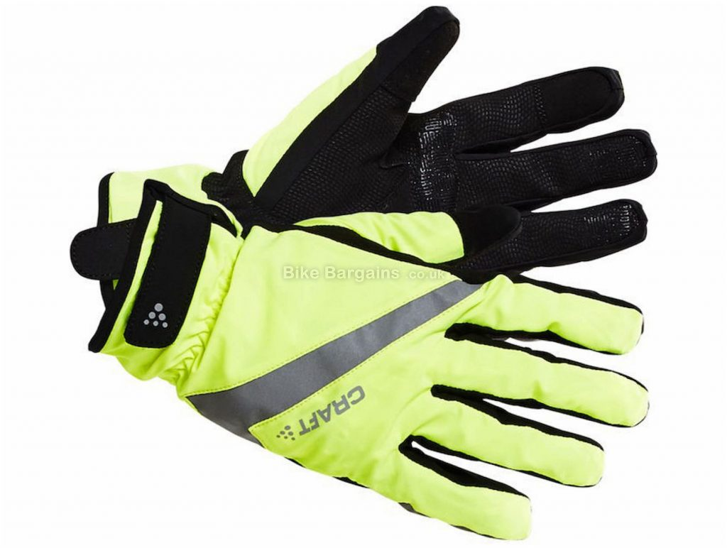 Craft Rain 2.0 Gloves XS, Yellow, Black, Water & Windproof, Full Finger, Men's, Polyester, Elastane