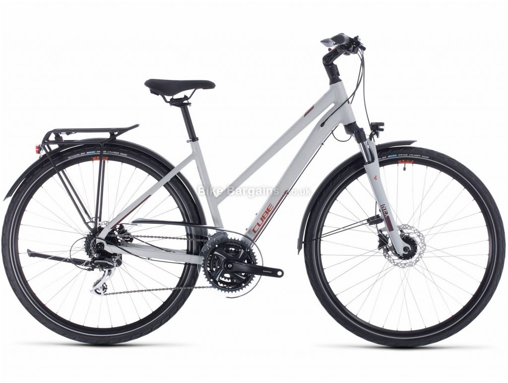 Cube Touring Pro Trapeze Ladies Alloy City Bike 2020 54cm, Grey, Alloy Frame, Disc, 24 Speed, Triple Chainring, Hardtail