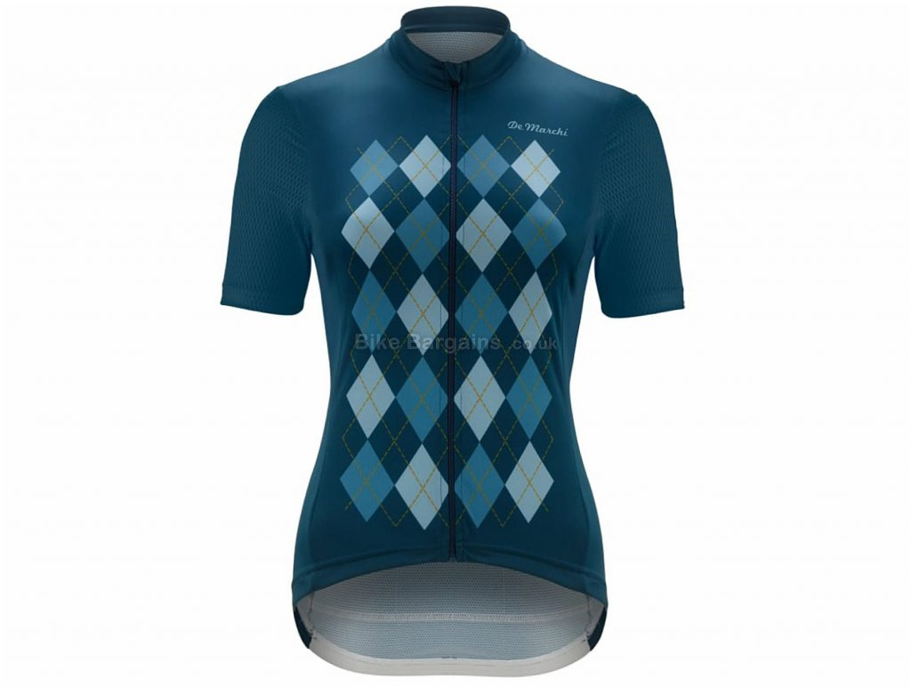 De Marchi Ladies Aria Short Sleeve Jersey XL, Blue, Coolmax Fabric, Short Sleeve, Polyester, Coolmax, Elastane