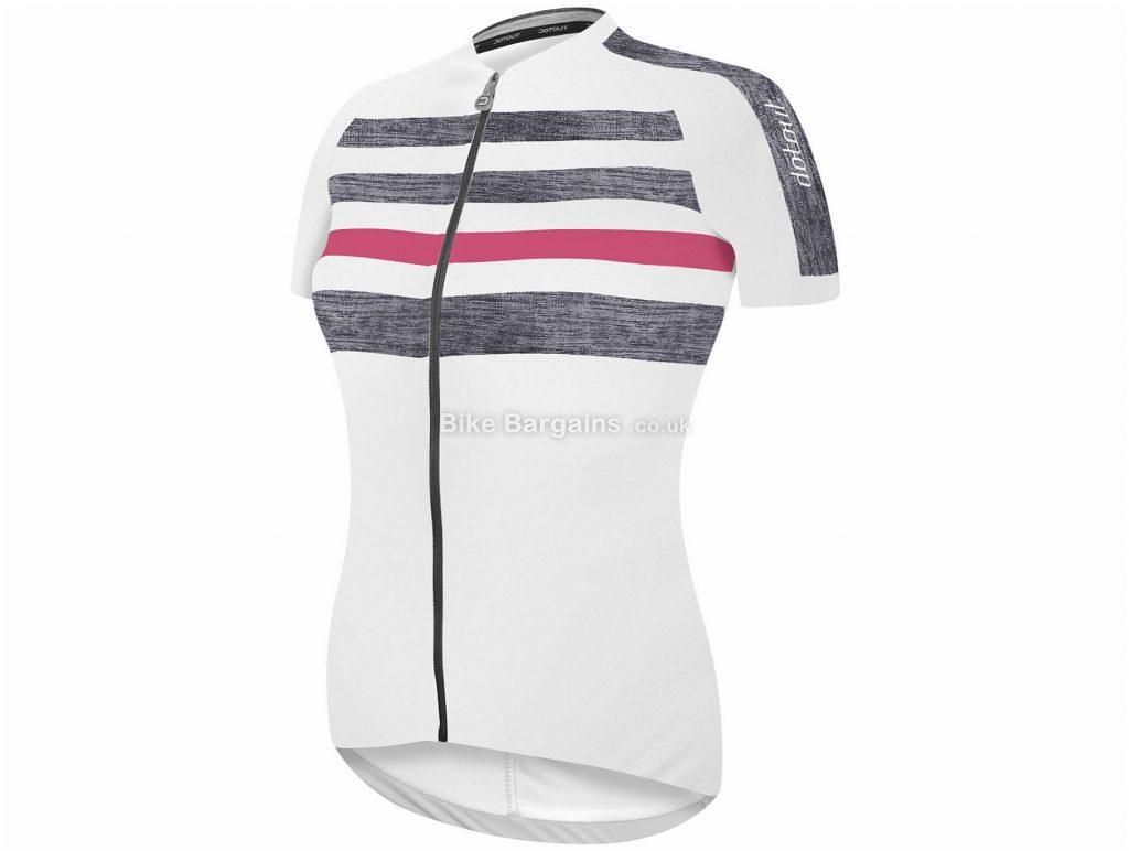 Dotout Ladies Stripe Short Sleeve Jersey S, Black, Full-Length Zip, Ladies, Short Sleeve, Polyester, Elastane