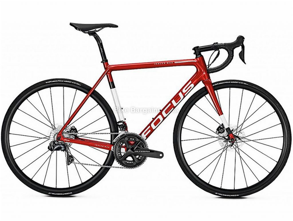 Focus Izalco Max Disc Ultegra Di2 Road Bike 2018 L, Red, White, 745g frame, Men's, 700c, Double Chainring, Disc, 11 Speed, Carbon
