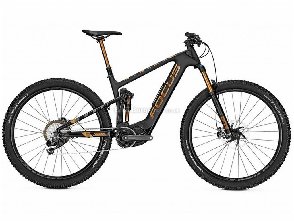 "Focus Jam2 C SL 29 Electric Full Suspension Mountain Bike 2018 L, Black, Gold, Shimano Steps E8000 drive, Men's, 29"", Full Suspension, Single Chainring, Disc, 11 Speed, Carbon"