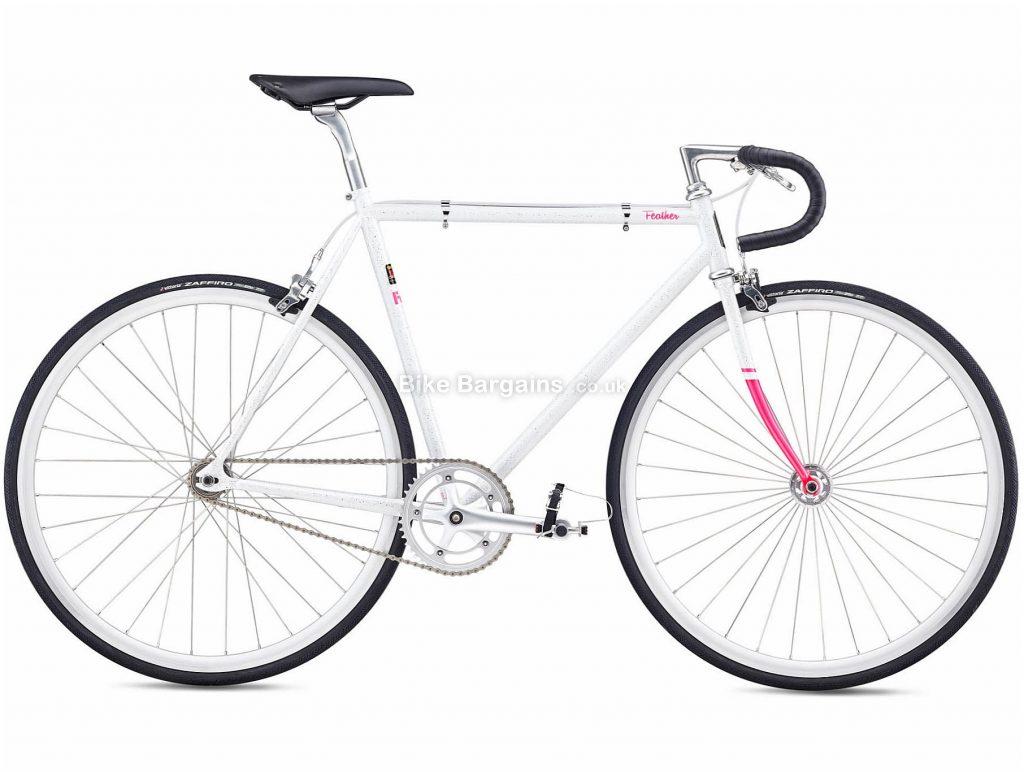 Fuji Feather Steel City Bike 2020 49cm, White, Black, Steel Frame, Caliper Brakes, 1 Speed, Single Chainring, Hardtail, 10.22kg