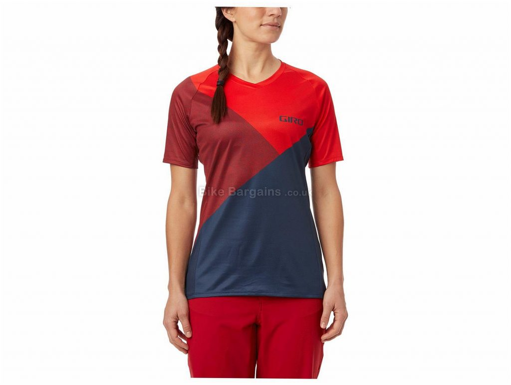 Giro Ladies Roust Short Sleeve Jersey S, Red, Blue, Ladies, Short Sleeve, Polyester