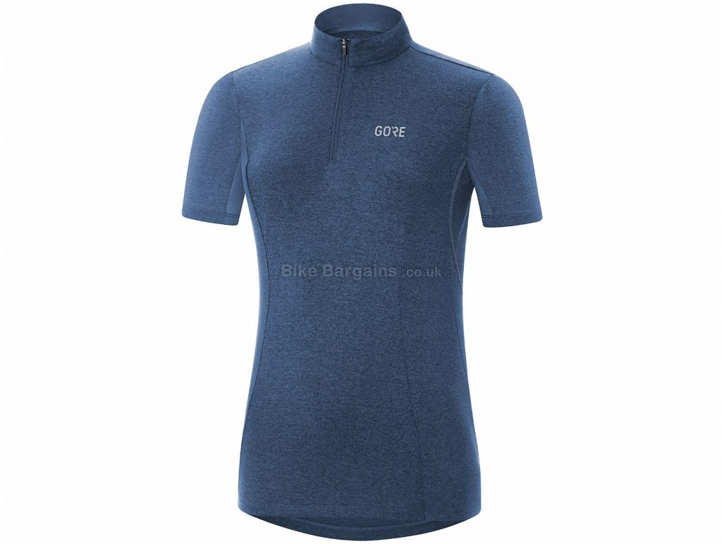 "Gore C3 Ladies Short Sleeve Jersey 40"", Blue, Full Length Zip, Ladies, Short Sleeve, Polyester, Elastane"