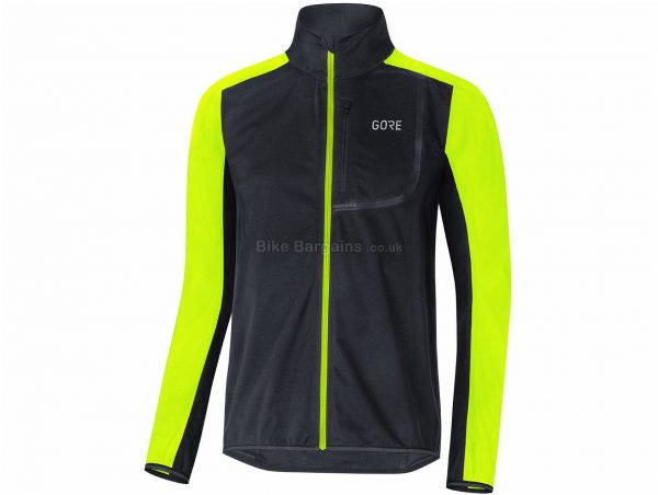 Gore C3 Windstopper Jacket S, Black, Yellow, Windproof, Water Repellent, Breathable, Men's, Long Sleeve, Polyester