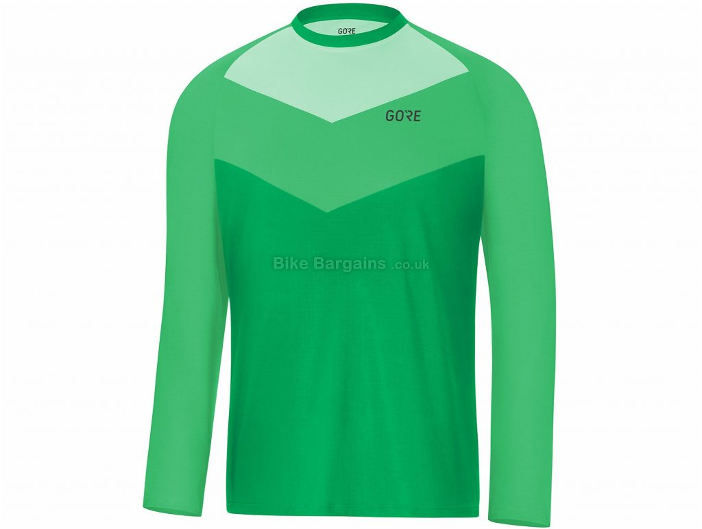 Gore C5 Trail Long Sleeve Jersey S, Green, Men's, Long Sleeve, Polyester