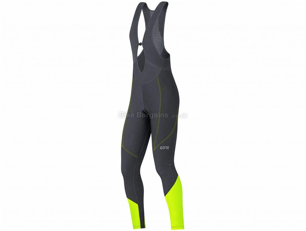 Gore Ladies C3 Thermo Bib Tights XS, Black, Yellow, Ladies, Elastane, Polyamide, Windproof, Breathable