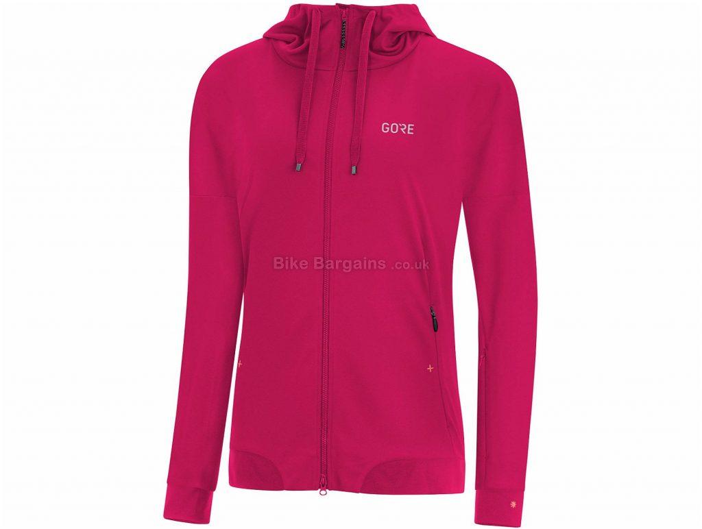 Gore Ladies C5 Windstopper Trail Hooded Jacket M, Pink, Grey, Ladies, Long Sleeve, Polyester