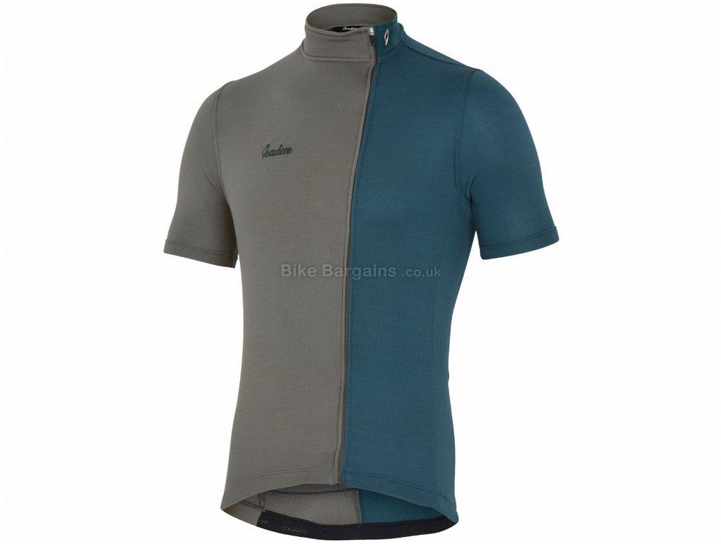 Isadore Asymmetric Short Sleeve Jersey L,XXL, Grey, Blue, Highly Breathable, Men's, Short Sleeve, Polyester, Merino, Wool, Lycra