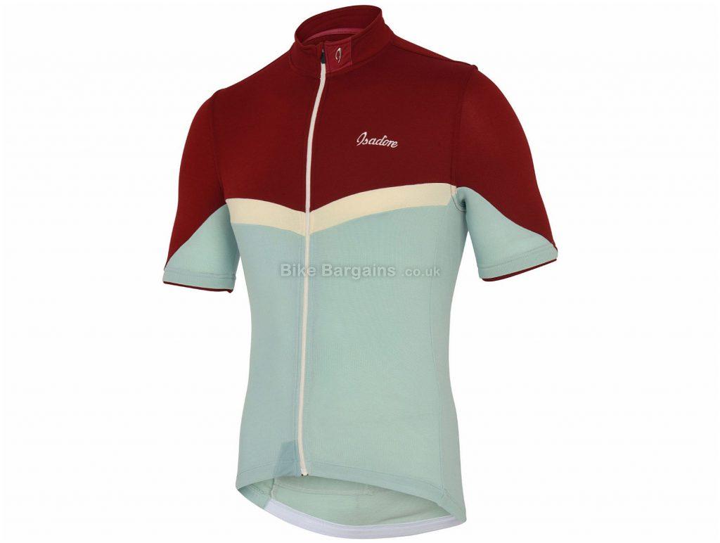 Isadore La Flamme Short Sleeve Jersey XS, Blue, Red, White, Three Panel Construction, Men's, Short Sleeve, Polyester, Merino, Wool, Lycra