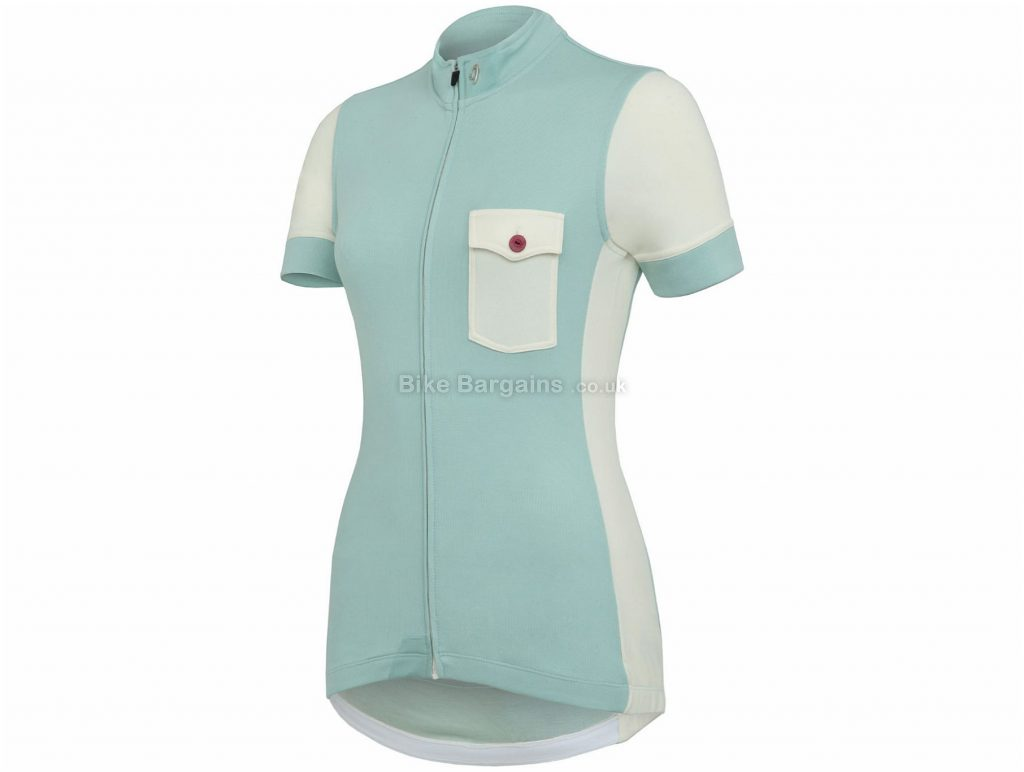 Isadore Ladies Messenger Short Sleeve Jersey XL, Turquoise, High-Wicking Breathable, Ladies, Short Sleeve, Polyester, Merino, Wool, Lycra