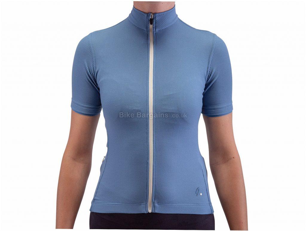 Isadore Ladies Woolight 2.0 Short Sleeve Jersey L, Blue, Fast-Wicking, Short Sleeve, Polyester, Merino, Wool