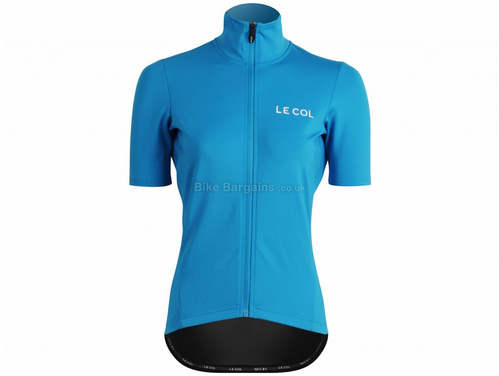 Le Col Ladies Pro Therma Short Sleeve Jersey M, Black, Blue, Waterproof, Windproof, Ladies, Short Sleeve, Polyester