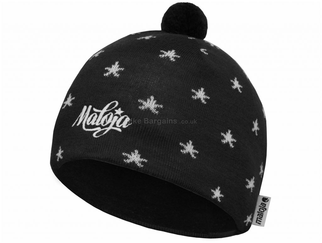 Maloja Crystal SpringM. Beanie One Size, Black, White, Fleece-Lined, Unisex, Acrylic, Wool